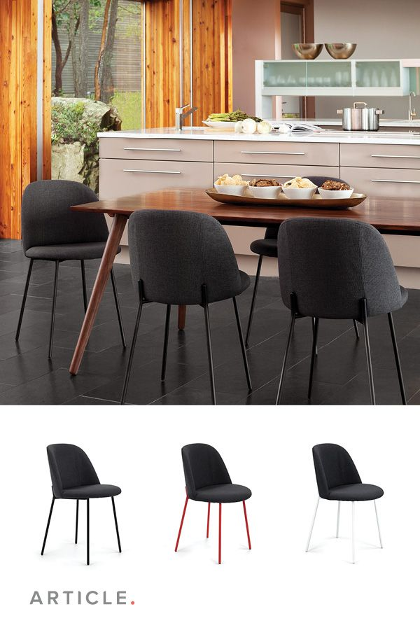 This Article dining chair has slender powder painted metal ...