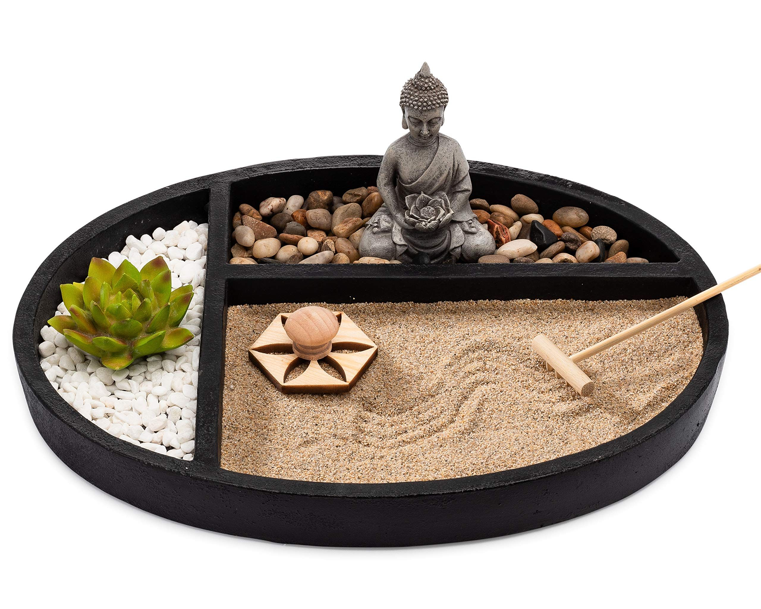 Asanaliving Desktop Zen Sand Garden With Concrete Base Meditating Buddha Statue Bamboo Rake Stamp And Faux Lotus Pla Zen Sand Garden Mini Zen Garden Zen Garden
