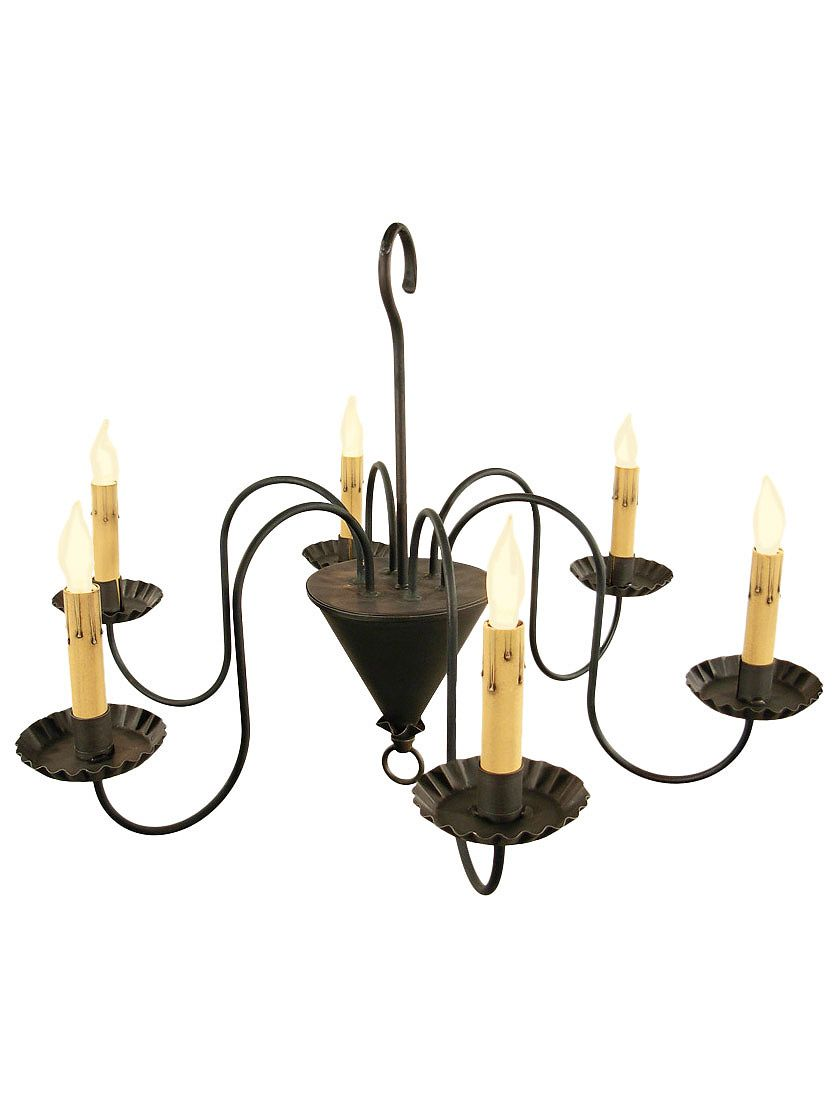 Colonial Chandeliers Williamsburg 6 Light Wrought Iron Chandelier With Antique Black Finish