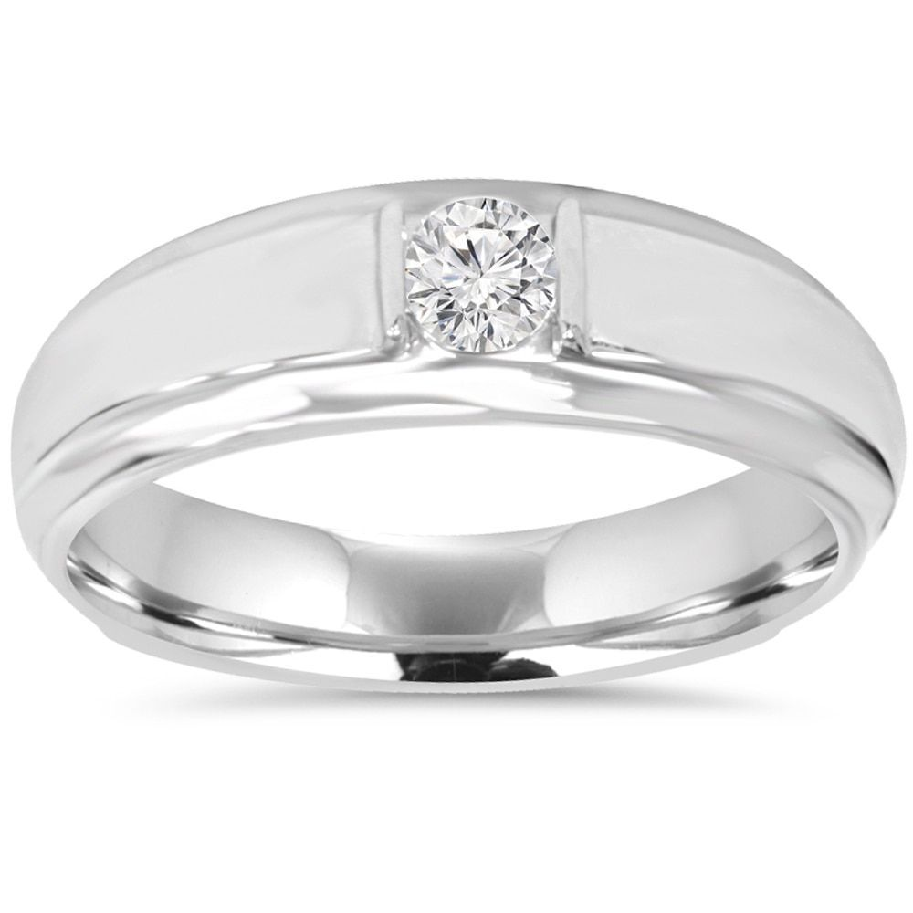 10k white gold 1 6ct mens diamond solitaire ring size 10