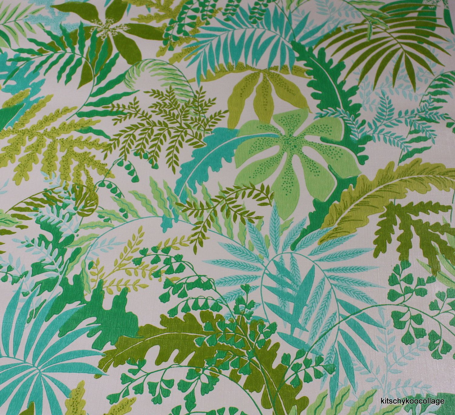 1970S Vintage Wallpaper Jungle Ferns In Aqua And Shades Of