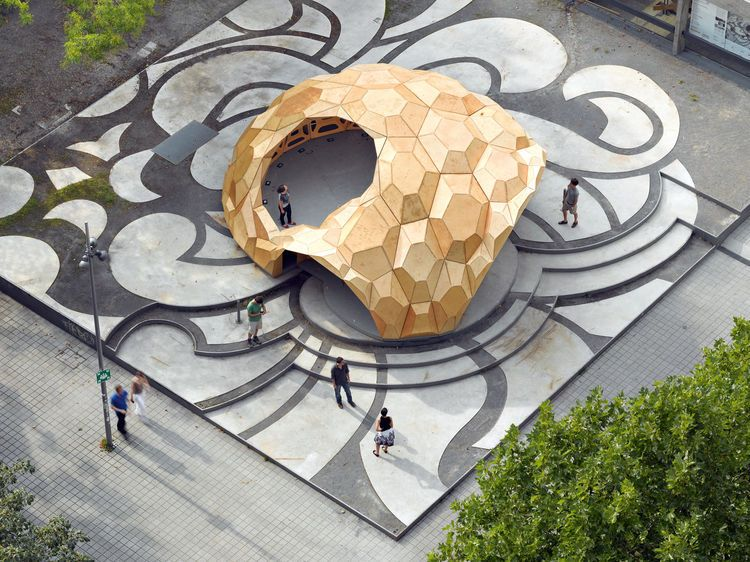 Comprised of plywood plates, the ICD/ITKE Research Pavilion in Stuttgart, Germany.