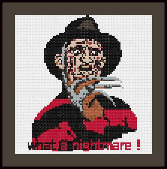 Freddy Krueger Cross Stitch Pattern, Nightmare on Elm Street Sewing