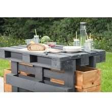 Palettenbartisch Holz 188x80x122 Grau Stehtisch Holz Stehtisch