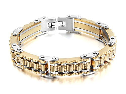 """Vnox Jewelry Mens Fashion Stainless Steel Bicycle Gear Link Bracelet Gear Bangle,Gold Silver,8.7"""" - http://www.jewelryfashionlife.com/vnox-jewelry-mens-fashion-stainless-steel-bicycle-gear-link-bracelet-gear-banglegold-silver8-7/"""