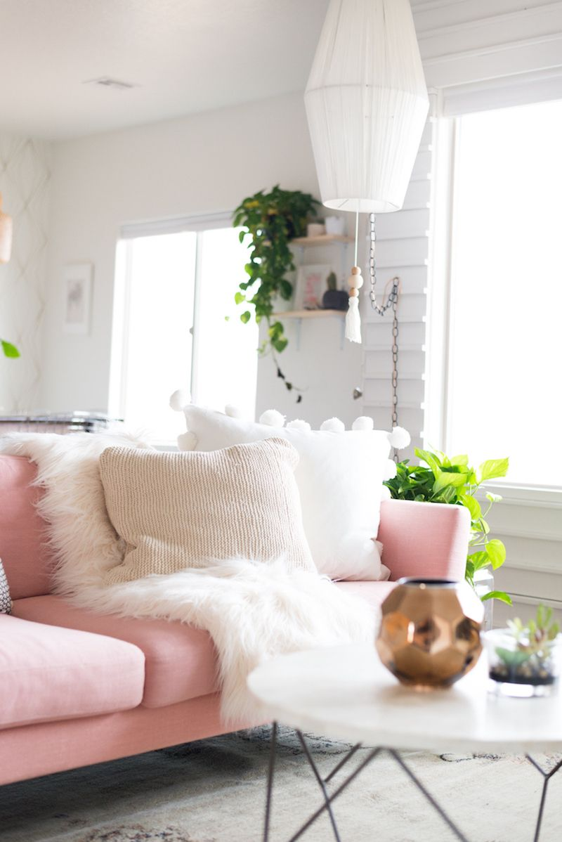 a chic living room update with a gorgeous pink sofa the things we rh pinterest com