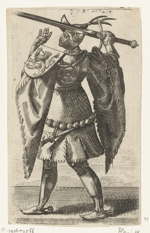 Adriaen Matham | Portret van Floris IV, graaf van Holland, Adriaen Matham, 1620 | Portret van Floris IV, graaf van Holland, staande in een harnas met op zijn schouder het wapen van Holland en in zijn hand een zwaard. Prent uit een serie van 36 prenten met portretten ten voeten uit van graven en gravinnen van Holland.