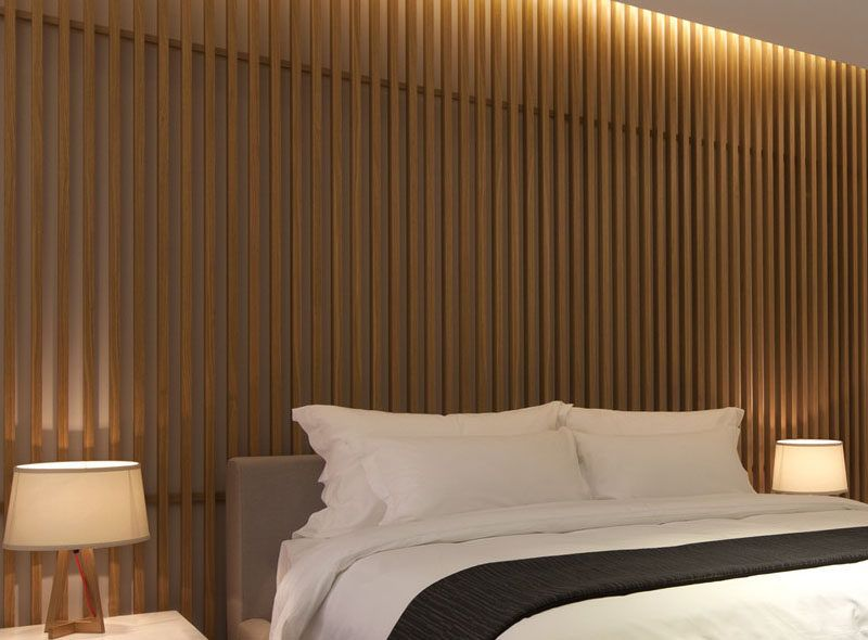 bedroom wall design idea - create a wood slat accent wall