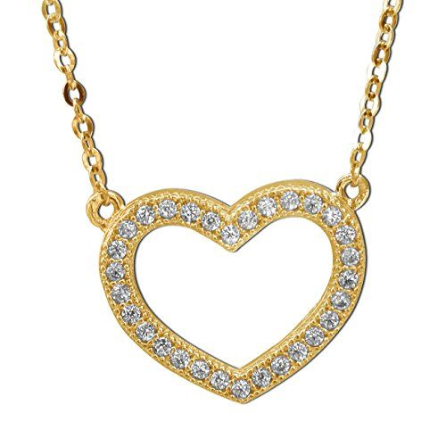 14k Yellow Gold Cubic Zirconia Floating Open Heart Necklace ** Check out the image by visiting the link.
