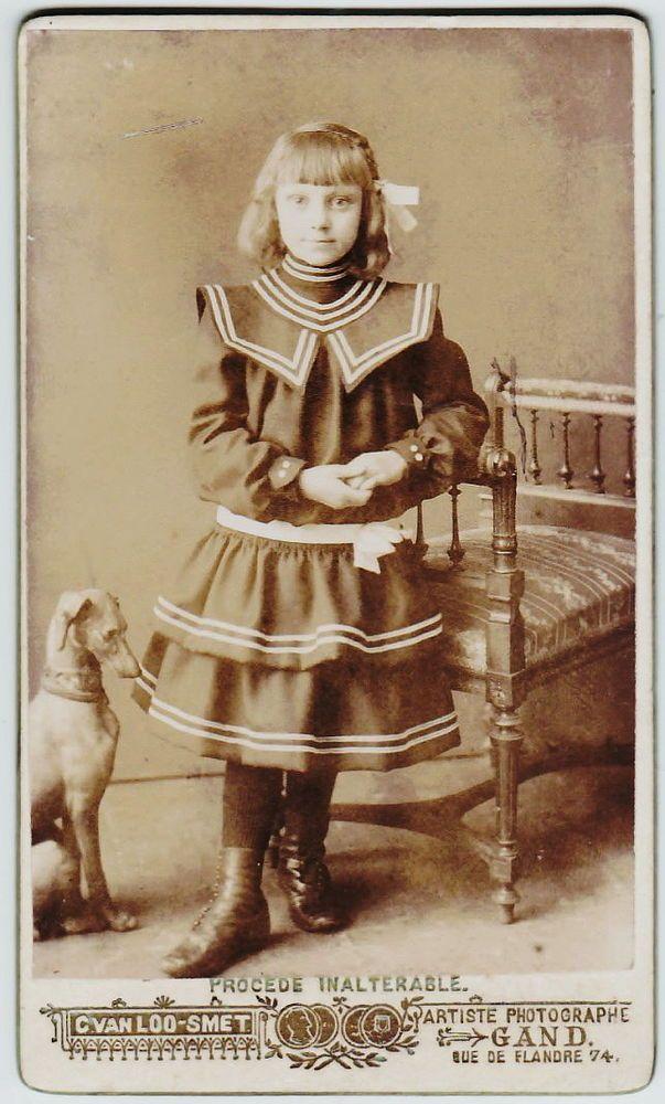 Victorian Era CDV Photo Little Girl fancy dress w Greyhound - vintage möbel küche