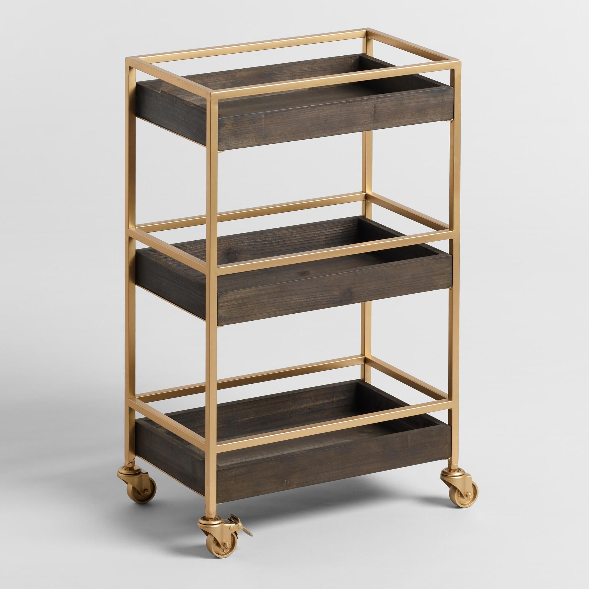 Gold and Walnut 3 Tier Andre Rolling Cart by World Market ...