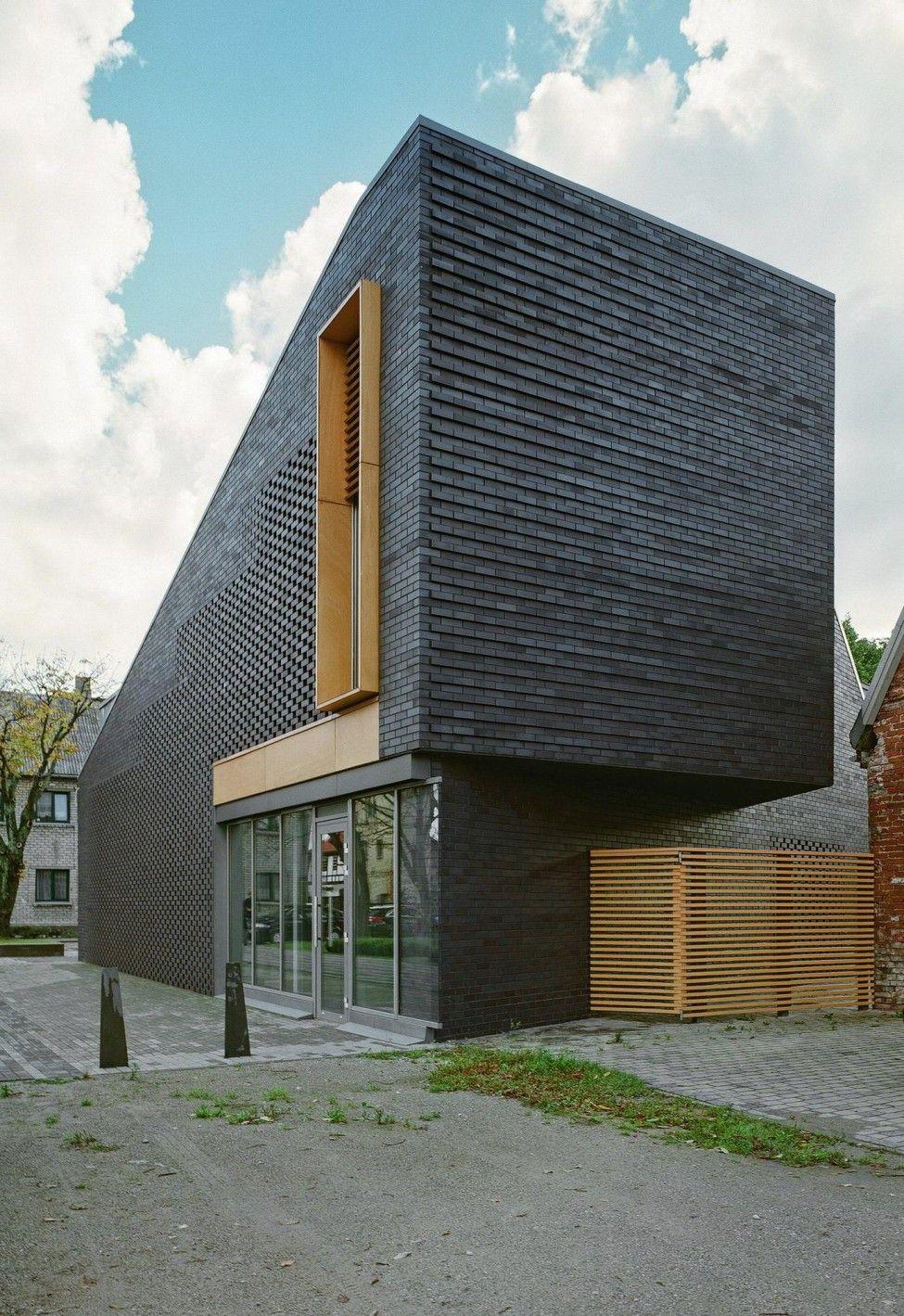 Architecture Interesting Exterior Home Design With: Black Bricks Facade For Small House Design House Facade