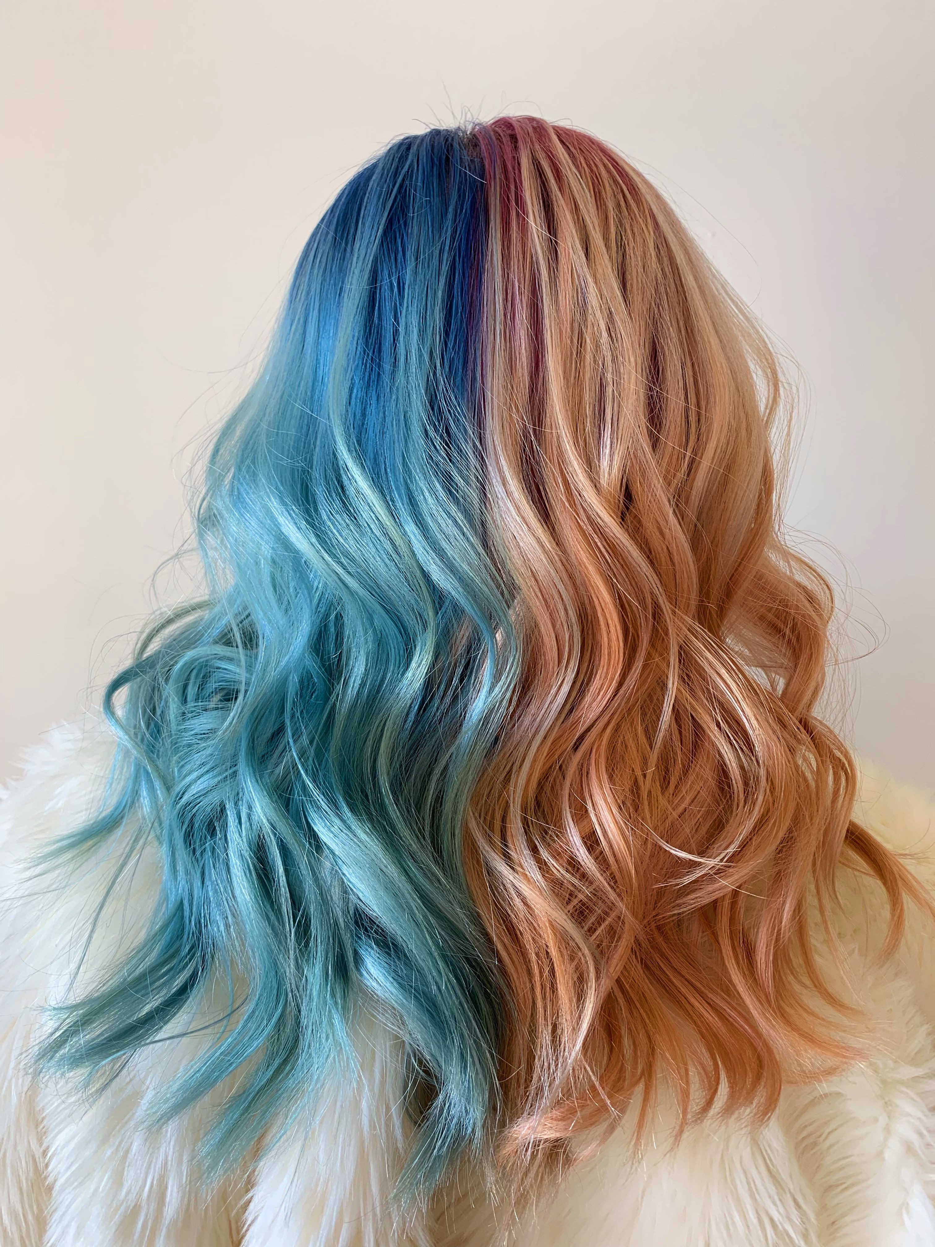 2 Color Half And Half Pink And Blue Hair Long Hair Styles Hair Designs Hair Styles