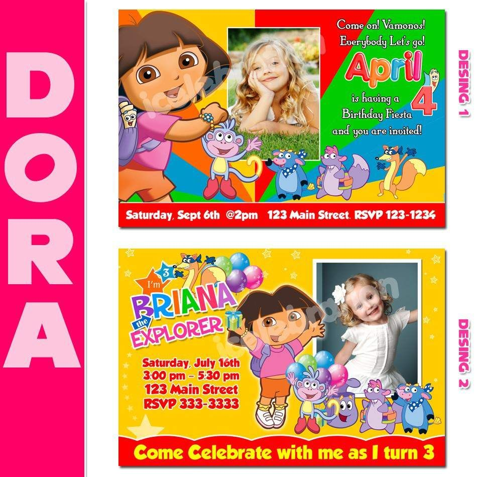 dora party invitations printable free | Invitationjdi.co