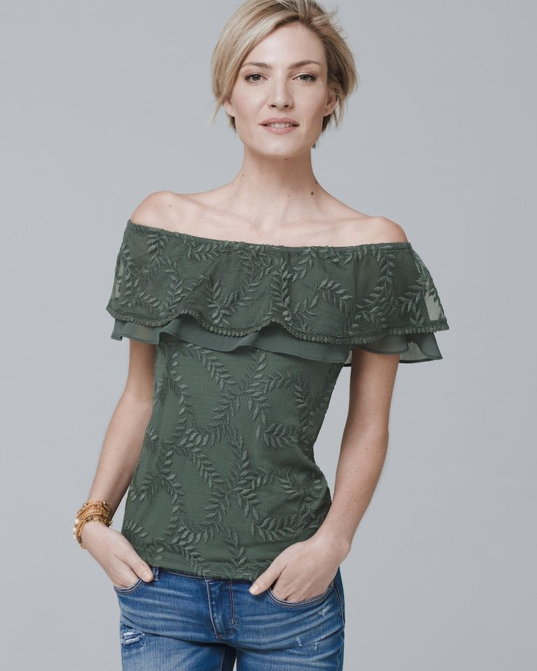 f3af08c5143181 Women s Off-The-Shoulder Lace-Up Knit Top by White House Black Market
