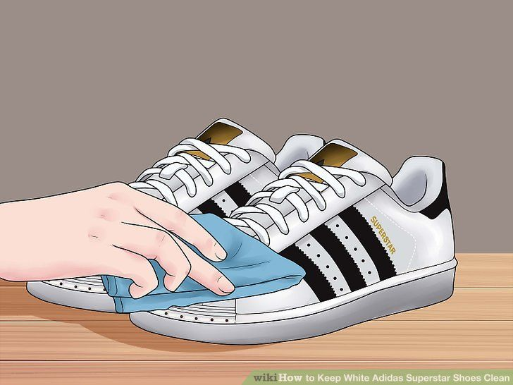 White Adidas Superstar Shoes Clean