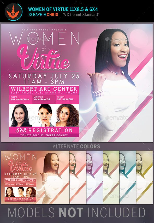 Women Of Virtue Conference Flyer Template Designed For Events And