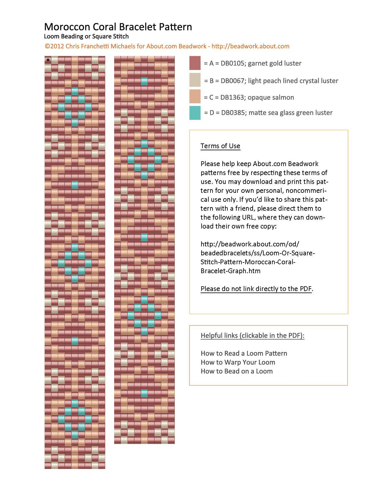 Loom or Square Stitch Pattern - Moroccan Coral Bracelet Graph ...