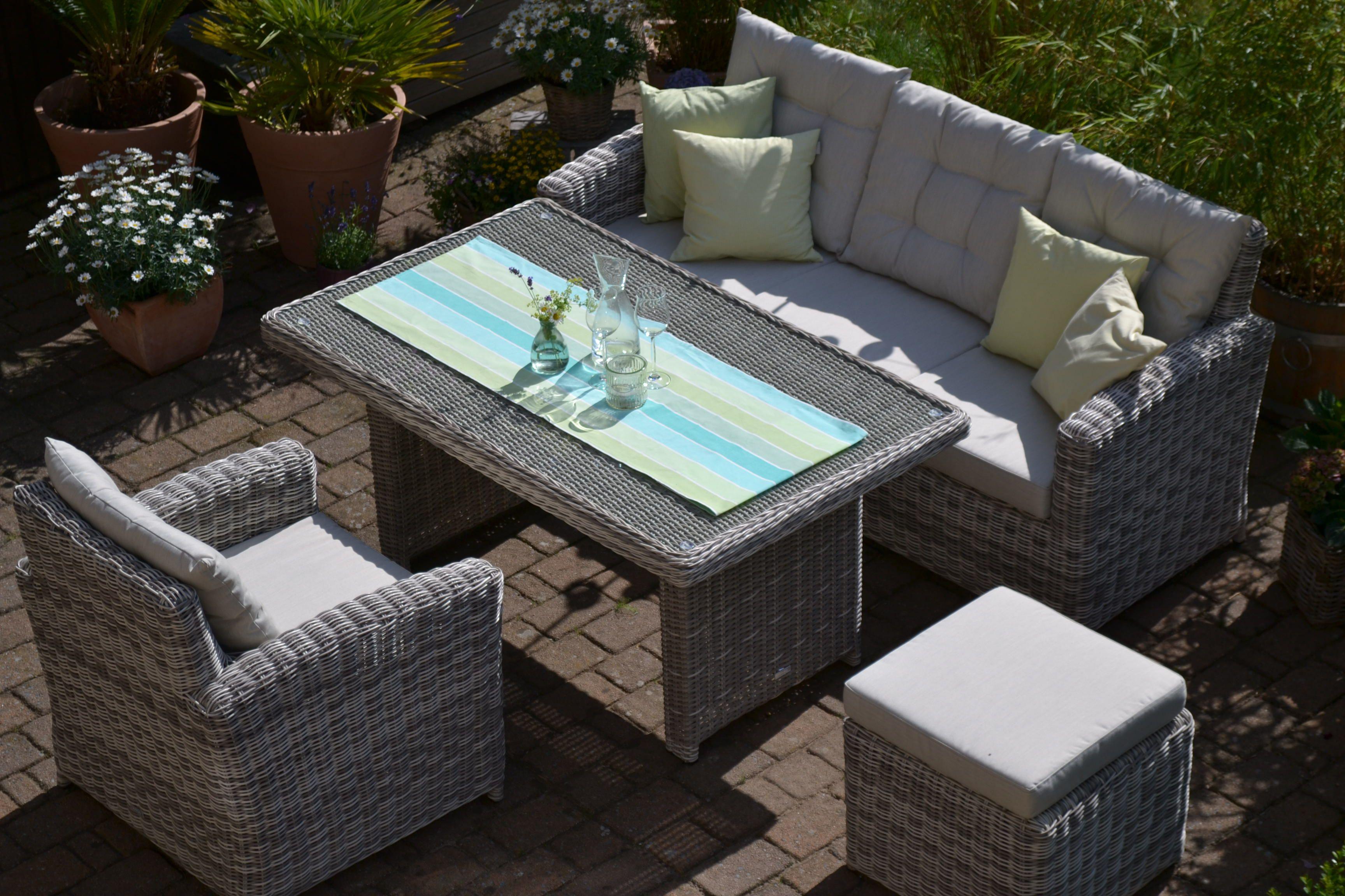 Sofagarnitur Manhattan Sand Grau 3 Sitzer Sofa Tisch Sessel Hocker Sessel Mit Hocker Outdoor Dekorationen 3 Sitzer Sofa