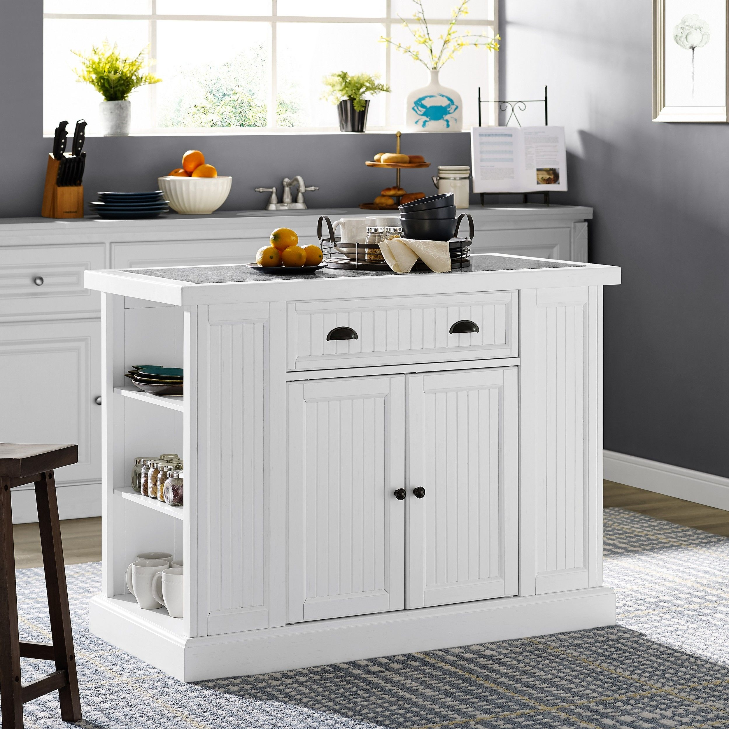 Lowest Price On Crosley Seaside White Kitchen Island Kf31005 Wh Shop Today Kitchen Island With Granite Top White Kitchen Island Seaside Kitchen
