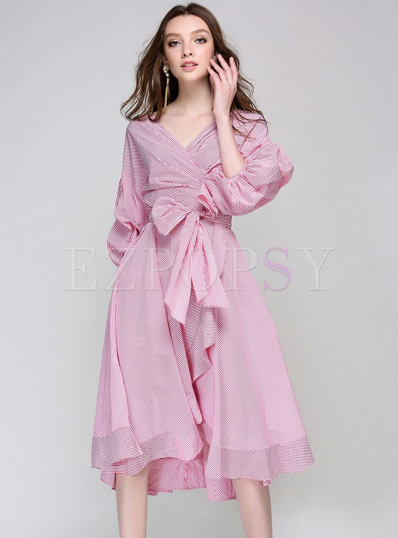 Street Puff Sleeve V-neck Tied Pink Dress