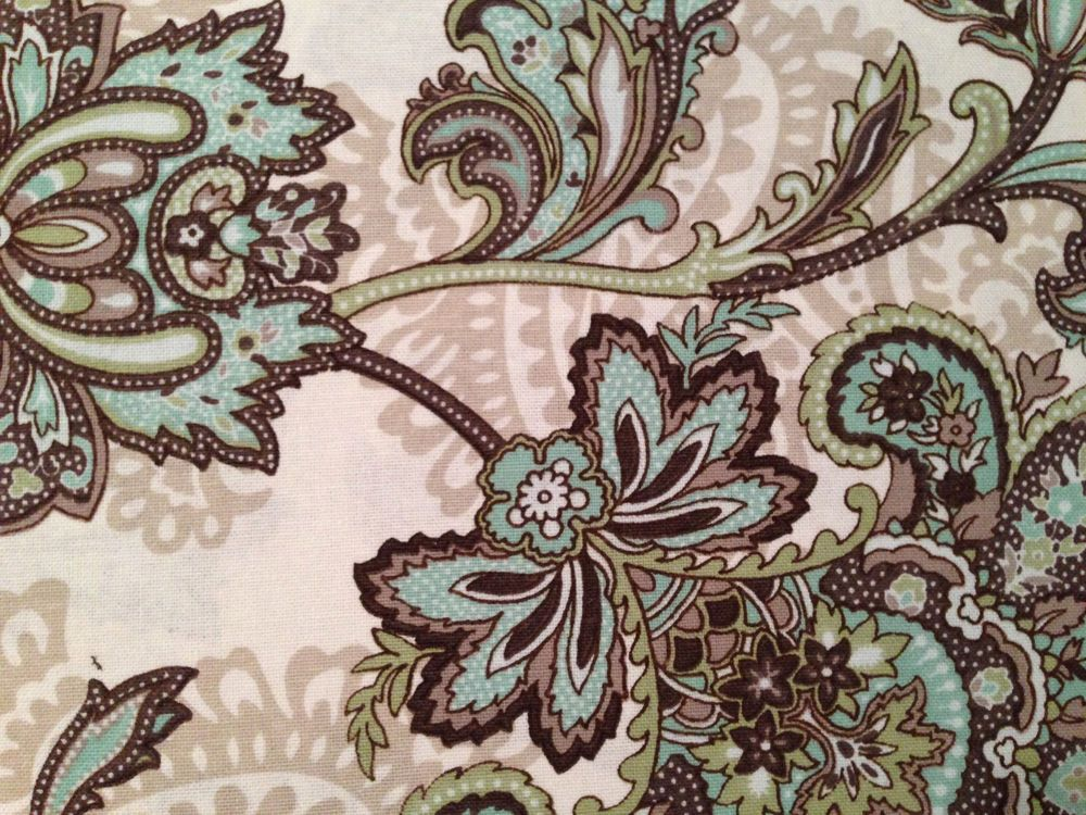 Peri marietta paisley medallion brown aqua green tan fabric shower ...