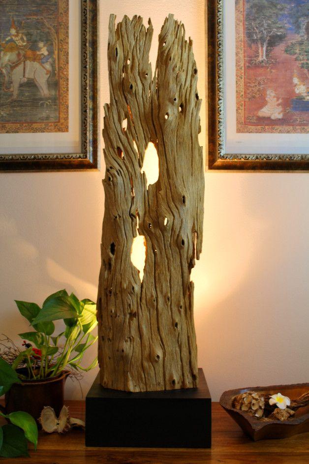 Teakbaum rinde  Stehlampe 90cm antike Teakrinde mit Strahler   Stehlampen, Jahrzehnt ...