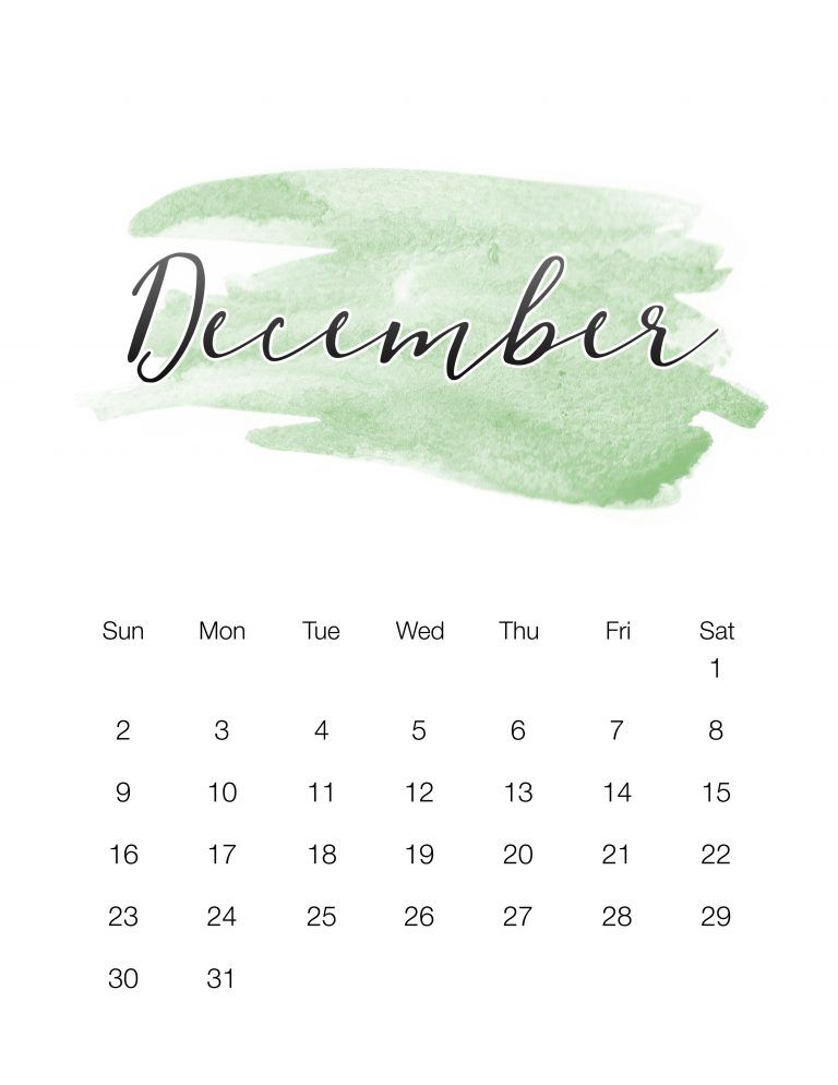 Free Printable 2018 Watercolor Wash Calendar Free printable