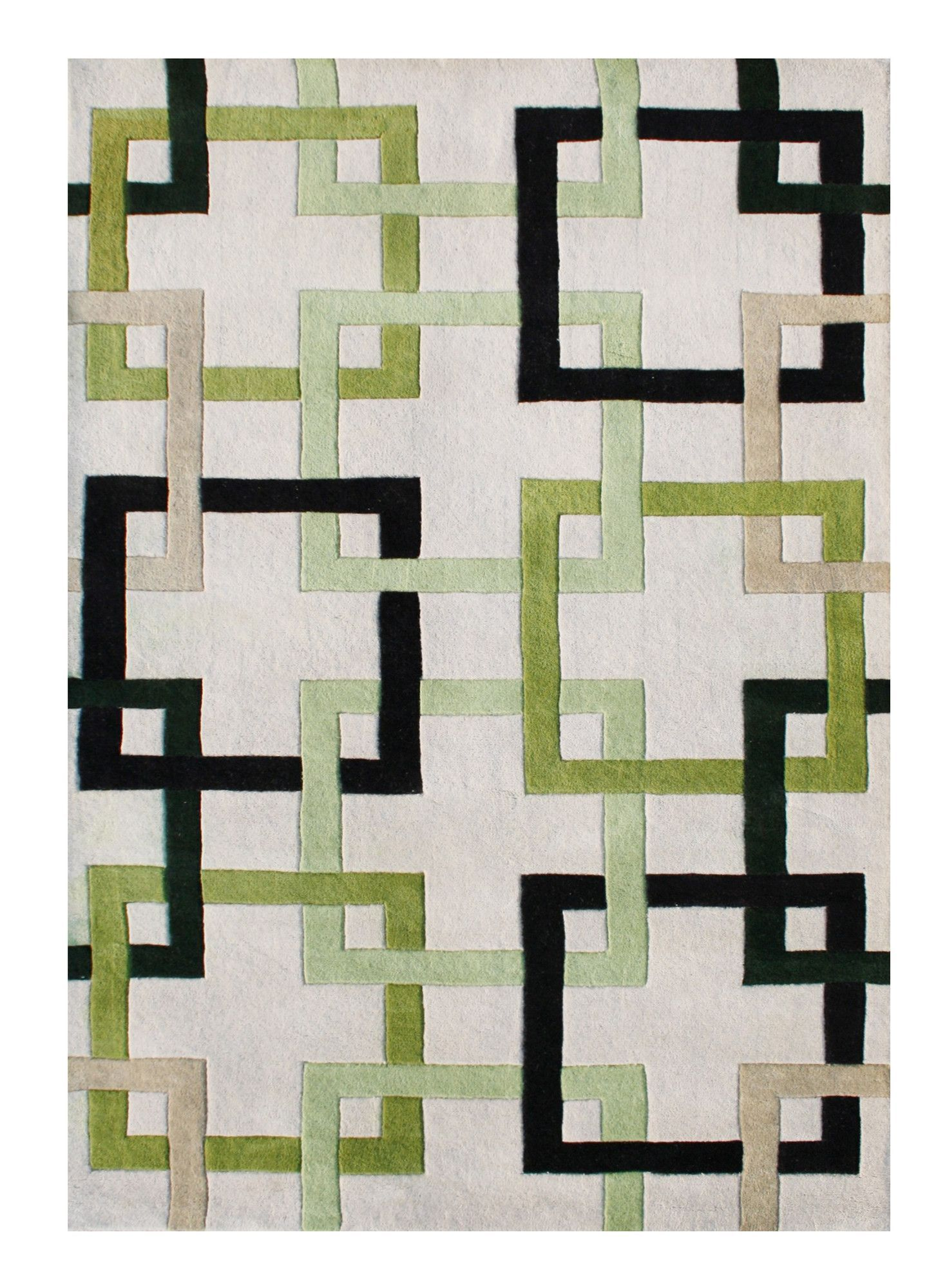 Alliyah Handmade Beige Green Black Area Rug Quilts 6 Rugs Area