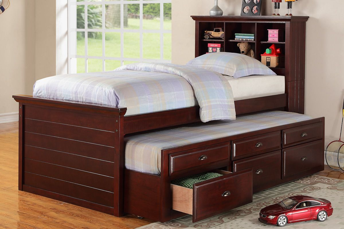 Cherry Captain Twin Bookcase Bed W Trundle Bed And 3 Drawers