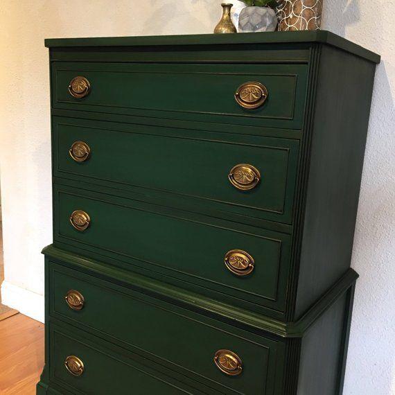 Best Sold Emerald Green Tall Dresser Vintage Antique Solid 400 x 300