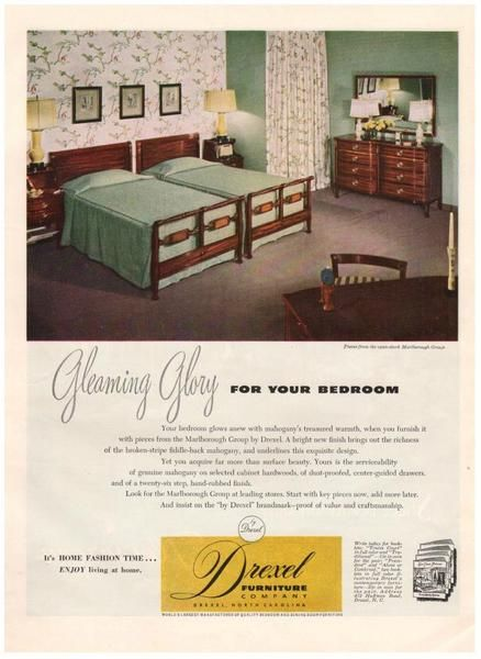 Vintage 1949 Drexel Furniture Magazine Print Ad Bedroom