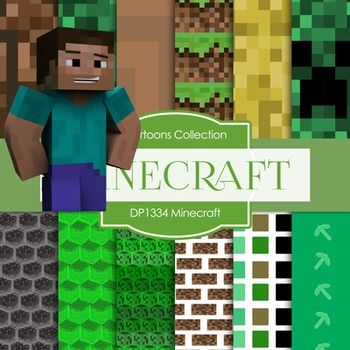 "❤ 12 pieces of paper MINECRAFT design  ❤ You will receive: 12 high quality 300 dpi 12"" x 12"" (3600x3600 px) JPEG files without watermarks  ❤ Digital files are for COMMERCIAL and PERSONAL use. 300 DPI great for printing! 12 pieces of digital paper"