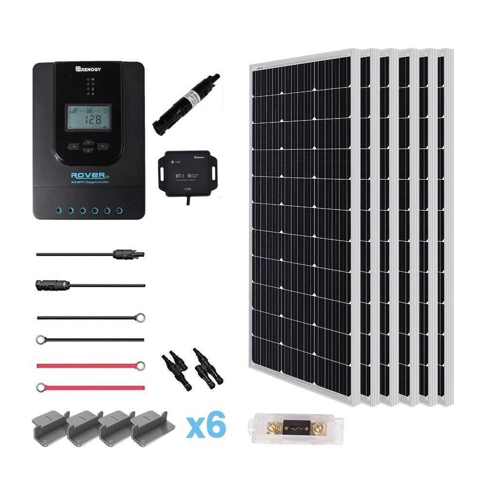 Renogy 600 Watt 24 Volt Monocrystalline Off Grid Solar Premium Kit Premium600dr40 The Home Depot In 2020 Solar Energy Panels Solar Panels Monocrystalline Solar Panels