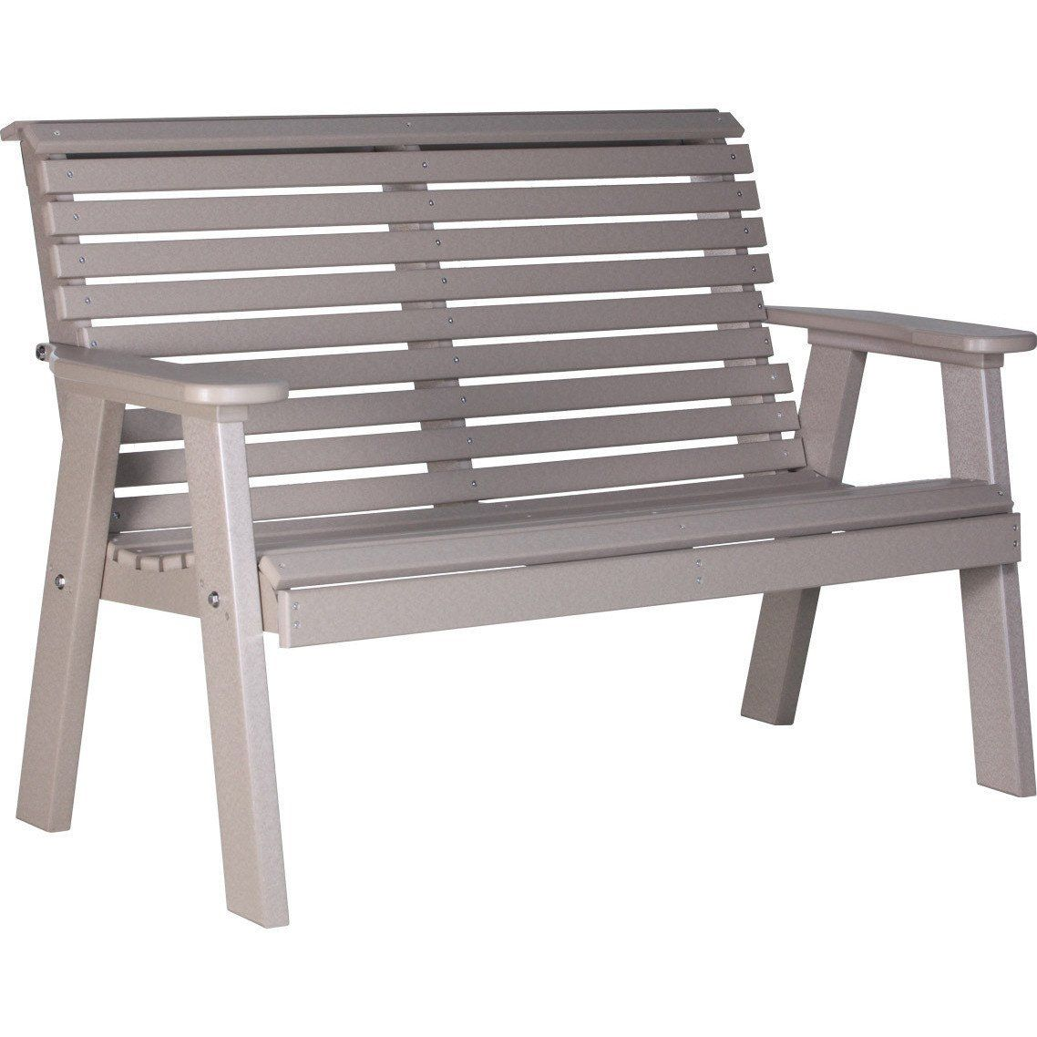 Luxcraft Rollback Recycled Plastic 4ft Bench Outdoor Wood Furniture Recycled Plastic