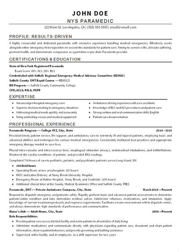 Emt Paramedic Resume Example  Resume Examples Medical And