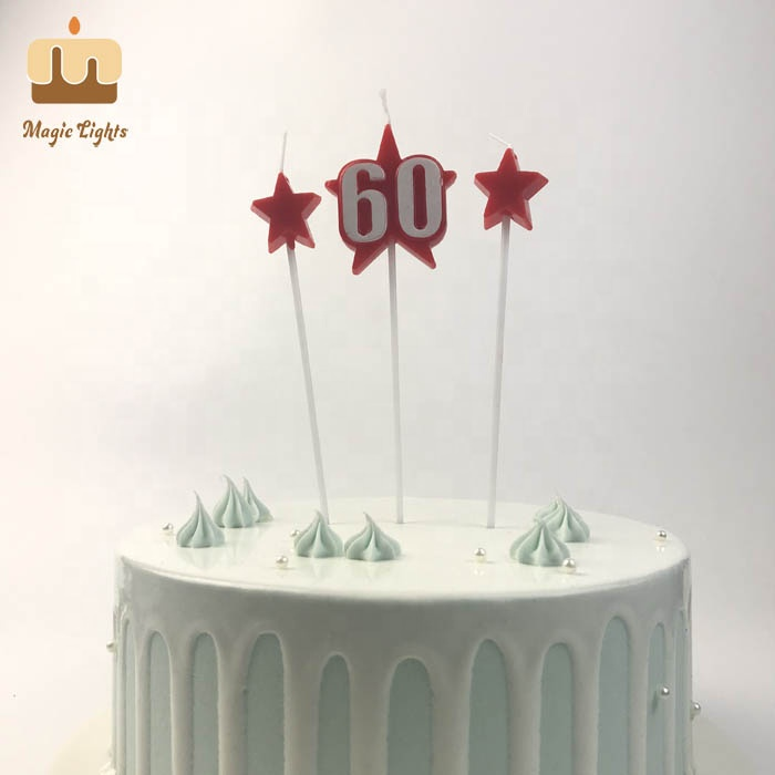Number 60 Star Birthday Cake Candle Factory,fully refined paraffin wax 58-60 eco…
