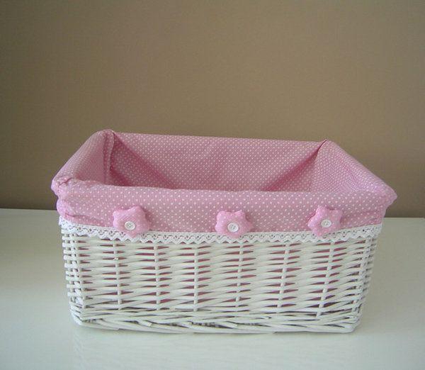 Canastos de mimbre decorados para beb imagui proyectos que intentar pinterest mimbre - Como forrar cestas de mimbre ...