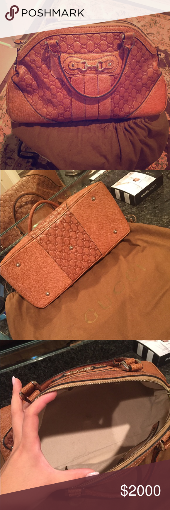 Gucci Guccissima in Cognac monogram AMAZING CONDITION. no stains, smells or tears! 100% Authentic. Date code hard to read but it IS there!! purchased in 2010 in Houston, TX Galleria. Price negotiable, trade offers welcome. (comes with dustbag) Gucci Bags Shoulder Bags