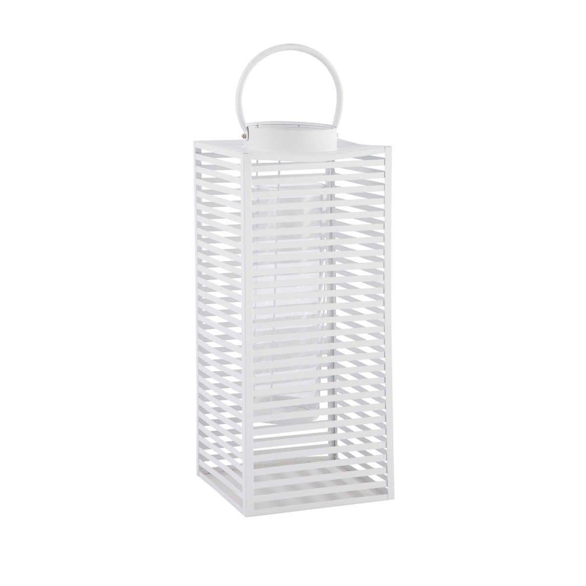 Maison du monde Ambiance scandinave ou bord de mer Lanterne en métal blanche H 60 cm ELVA Dimensions (cm) : H 60 x L 25 x PR 25  59,99 €