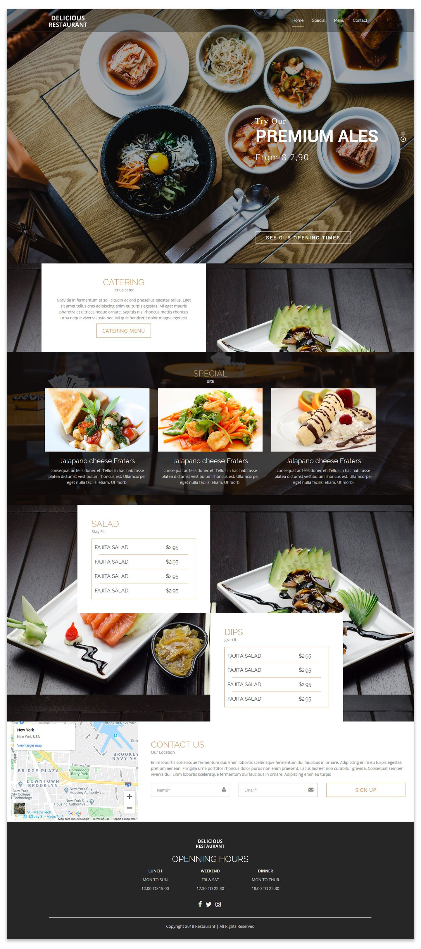 Restaurant Template is a Fully Responsive One Page HTML
