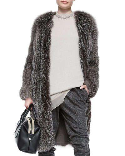 Brunello Cucinelli  Fox Fur Cashmere-Knit Long Coat