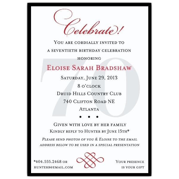 classic 70th birthday celebrate party invitations