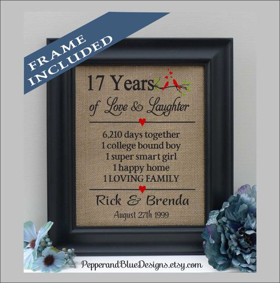17th Anniversary Gifts 17 Years Married 17 By Pepperandbluedesigns Printing On Burlap Anniversary Gifts 2nd Wedding Anniversary