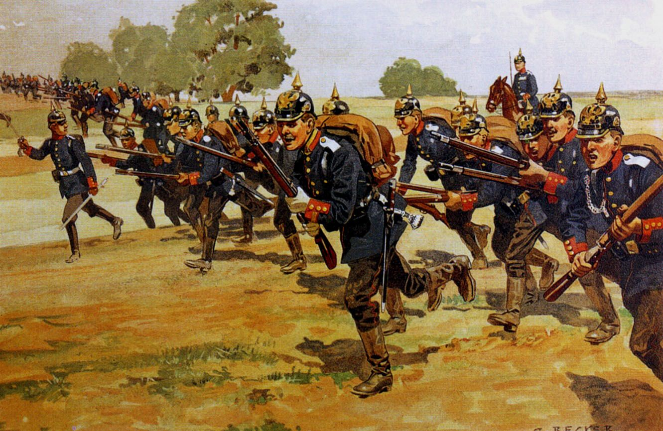Charge of the Prussian infantry, Franco-Prussian War | Military artwork, War  art, Military art