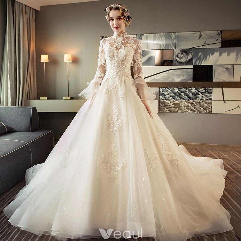Chinese Style Ivory Pierced Wedding Dresses 2018 Ball Gown