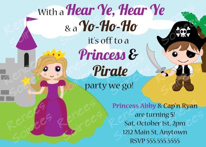 PRINCESS and PIRATE Birthday Party - Printable INVITATION ...