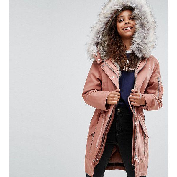 ASOS PETITE Parka with Detachable Faux Fur Liner ($115) ❤ liked ...