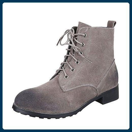 Ital Design Schnürboots Damen Leder Schuhe Combat Boots