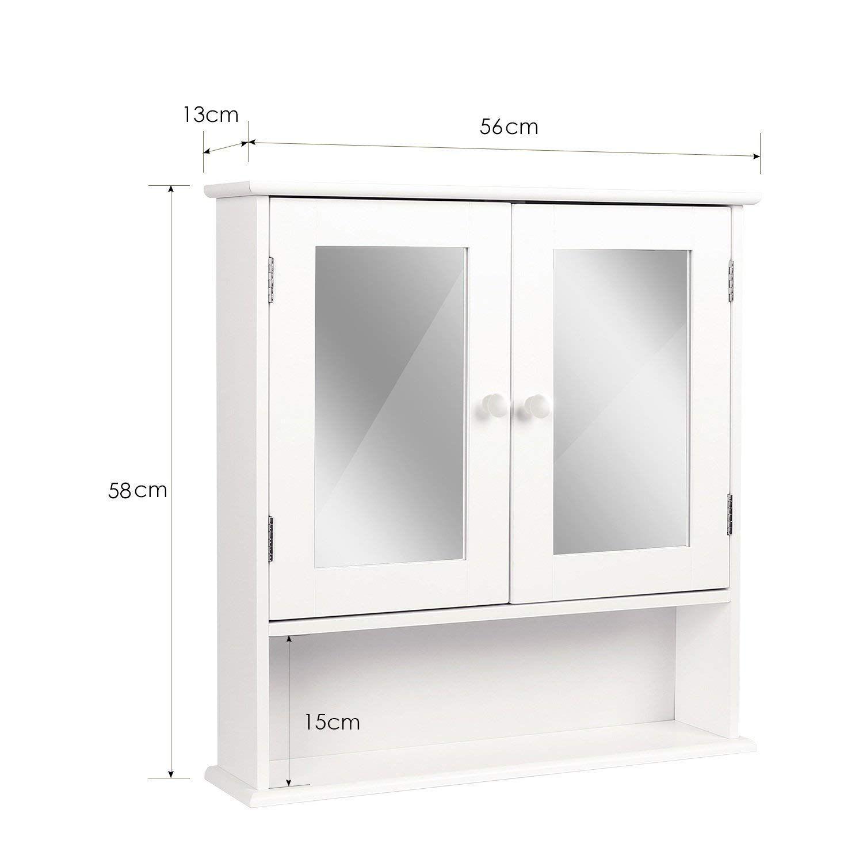 HOMFA Armario de Ba/ño con espejo  Armario de Pared Armario de Cocina o Medicina Blanco 2 puertas y 3 Estanter/ías MDF 56x13x58cm